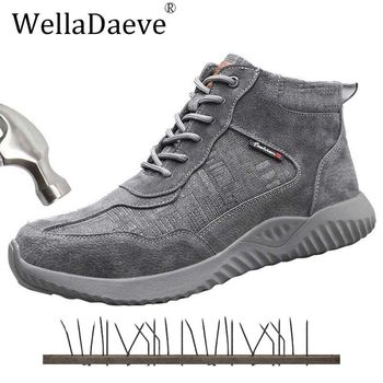 Men High Top Safety Shoes Steel Toe Lightweight Construction Protective Footwear Puncture Proof Work Ankle Boots Casual Sneaker large size men casual comfort mesh steel toe cap work safety summer shoes puncture proof tooling security boots protect footwear