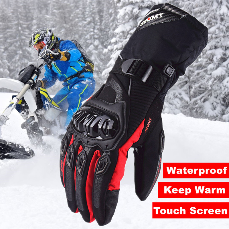 SUOMY Snow Bike Motorcycle Gloves Men Touch Screen Winter Warm Waterproof Windproof Protective Gloves Moto Racing Glove XXL