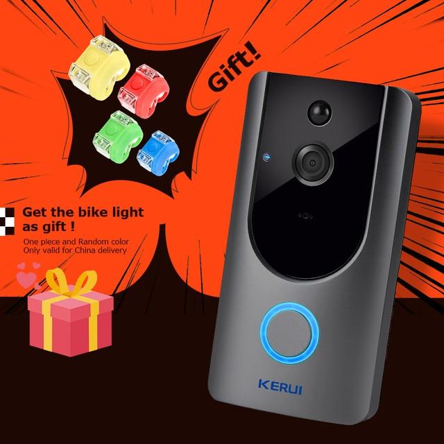 KERUI 1.0MP 720P telefon bezprzewodowy inteligentne WiFi pierścień dzwonek kamera WiFi IP dzwonek wideodomofon dla apartamentów bezpieczeństwo w domu|Dzwonek do drzwi|   -
