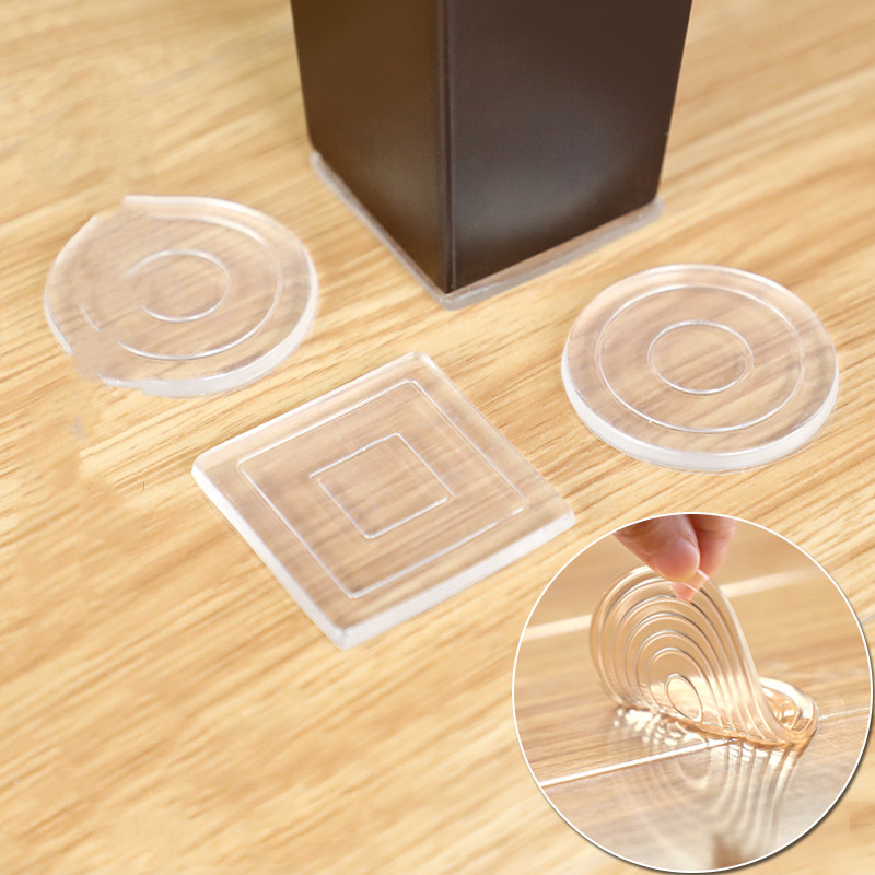 4pcs! Silicone Chair Feet Mute Fixed Single Surface Adhesive Non Slip Mats For Furniture Table Desk Feet Covers Protection Round