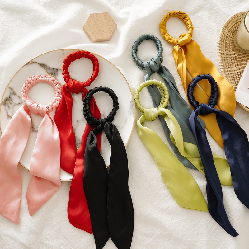New Solid Color Scrunchie Hair Scarf Elastic Hair Bands Hair Ties For Women Girls Ponytail Holder Hair Ring Hair Accessories
