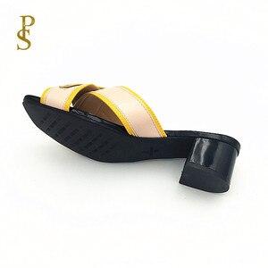 Image 5 - Pantoufles colorées assorties, chaussures à talons bas pour femmes, chaussures pour femmes