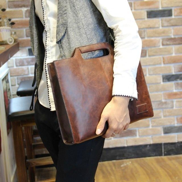 Men Leather Bags Male Brief Case Bag Black Business Bags 34cm*27cm*6cm