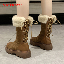 2019 New Brand Mid-Calf Snow Boots Women Shoes Warm Plush Winter Boots Suede Platform Black Brown Lace Up Australian Boots leopard printed suede lace up snow boots
