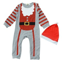 hilittlekids Newborn Baby Boys Girls Christmas Long Sleeve Cute Santa Claus Pajama Jumpsuit Hat/Headband Bodysuit Set