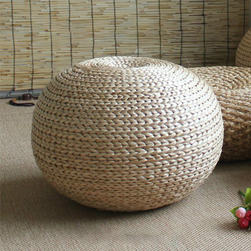 Japanese Style Natural Straw Stool Sitting Seat Living Room Spherical Round  Stool Rattan Cushion Natural Hand Woven Foot Stool