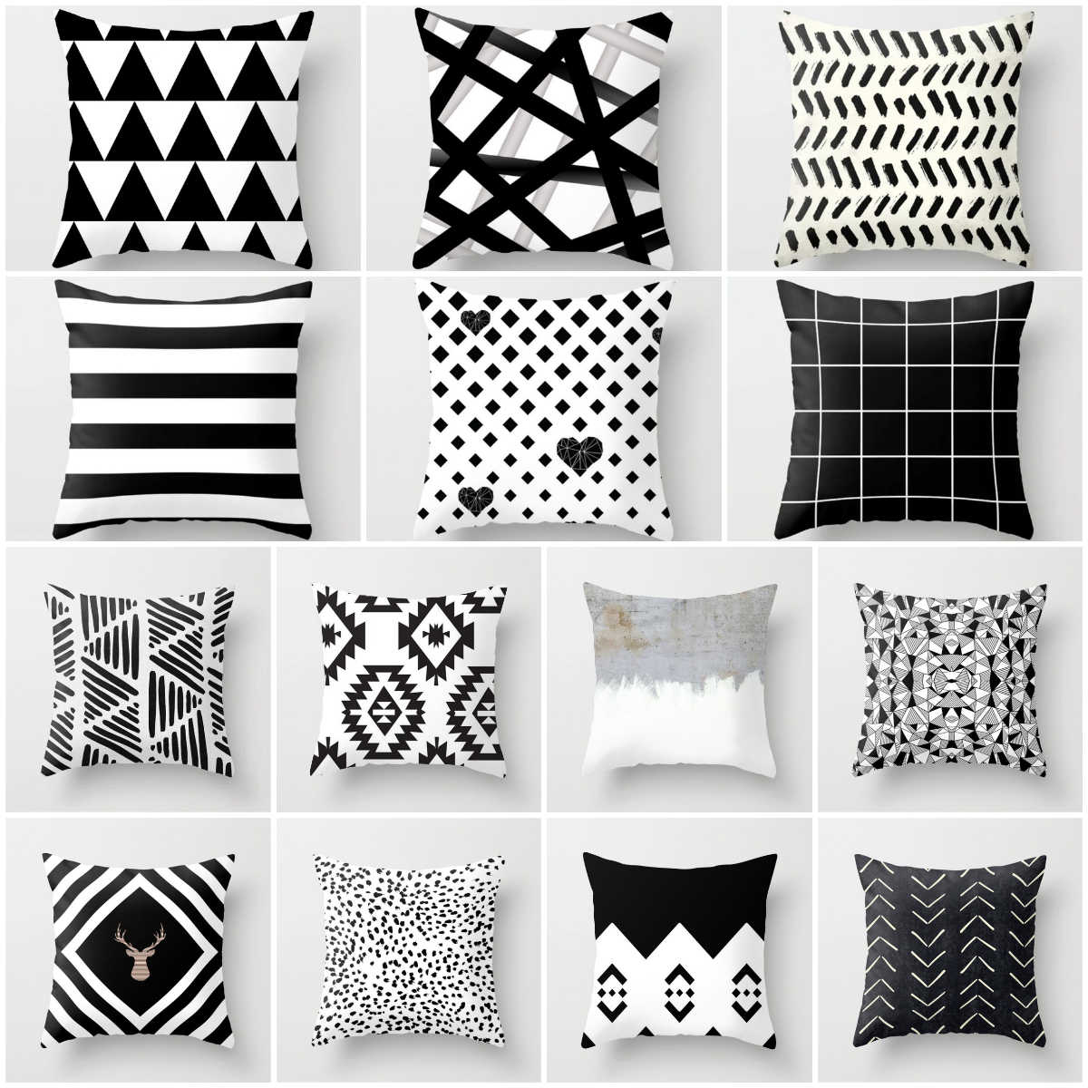 45*45CM Nordic Black and White Cushion Cover Polyester Geometric Throw Pillow Cover Decorative Sofa Pillows Fashion Pillowcase