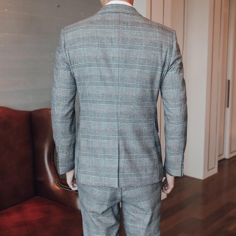 (Chaqueta + chaleco + Pantalones) traje de boda Delgado nuevo de moda para hombre/traje de rayas a cuadros S 5XL de gran tamaño/traje de 3 piezas para hombre - 5
