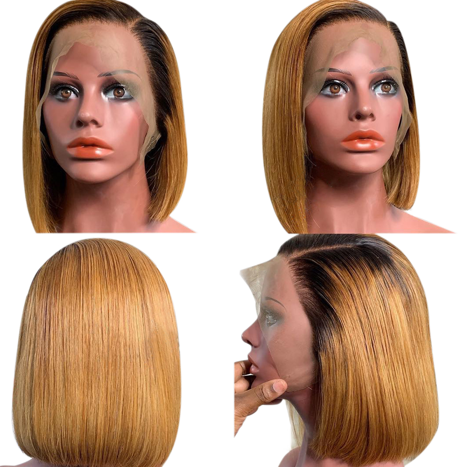 13*4  Lace Front Human Hair Wigs Brazilian Remy Hair 1B/27 Ombre Straight Short Bob Wig 150% Pre Plucked Baby Hair Glueless Wig