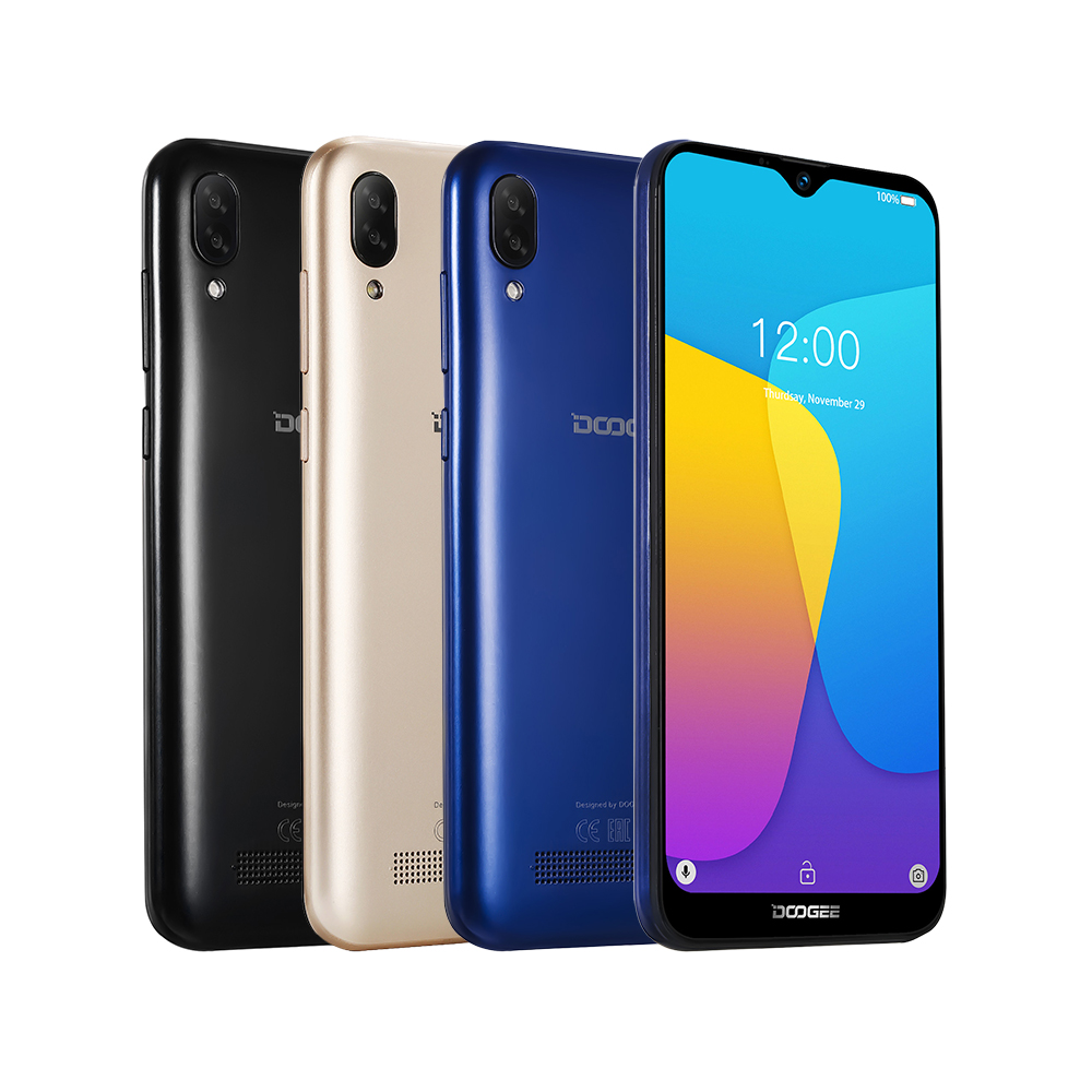 DOOGEE X90 teléfono móvil 6,1 pulgadas 19:9 de agua pantalla ltps Smartphone Quad Core 16GB ROM 3400mAh Dual SIM 8MP + 5MP WCDMA Android ir Altavoz multipunto 4,1 + EDR Kit manos libres Bluetooth inalámbrico para coche reproductor de música MP3 para IPhone Android