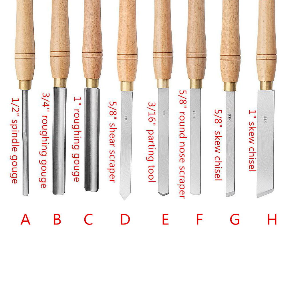 Image 2 - 8 Types High Speed Steel Lathe Chisel Wood Turning Tools Lathe Cutter Tools With Wood lathe Tool Holder Woodworking ToolTurning Tool   -