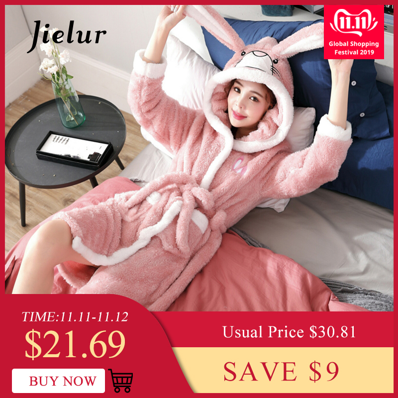 Jielur Coral Velvet Bathrobe Women New Cartoon Cute Warm Hooded Robe Ladies Winter 2019 Bath Robes Dressing Gowns Badjas