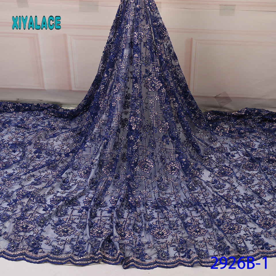 African Lace Fabric Latest High Quality 2019 Lace Stones Beads French Lace Fabric Bridal Lace For Nigerian Party Dress YA2926B-1