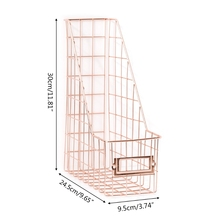 Rack-Organizer Desk-Shelf File-Holder Book-Storage Magazine Grid Wrought-Iron Nordic