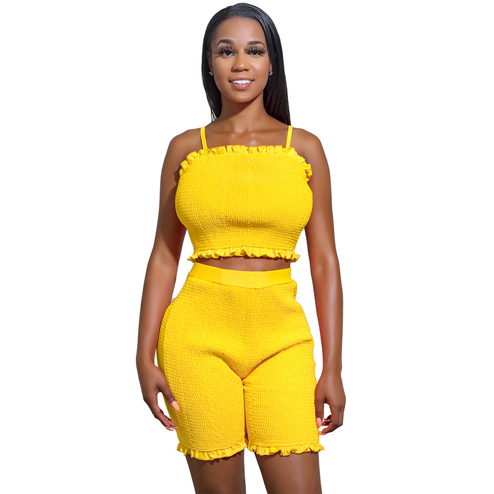 Summer New Style Hot Selling Set Europe And America Sexy Camisole Fluorescence Color Two-Piece 8147