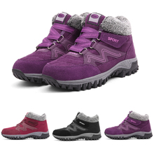 Women's Boots Sneakers Hiking-Shoes Leather Platform Ankle Girls Plush Suede Round-Toe