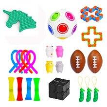 Ensemble de jouets de Stress Sensoriel Pop It, cordes magnétiques extensibles, anneaux à presser, haricots et haricots, 22 pièces