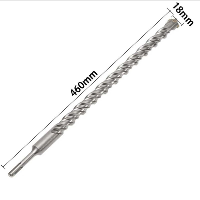 1pcs 460mm 10 18mm SDS Plus Crosshead Twin spiral Hammer Drill Bits Twist Electric Hammer Round Shank Drill Bit in Drill Bits from Tools