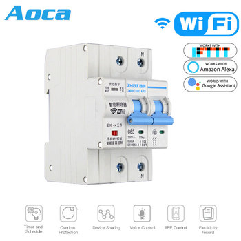2P WiFi Smart Circuit Breaker Switch Smart Home Automation Overload Short Circuit Voice Control with Amazon Alexa Google home