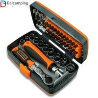 Daicamping-Juego de destornilladores de trinquete, 38 en 1, ahorro de trabajo, combinación doméstica, caja de herramientas de mano, tornillo