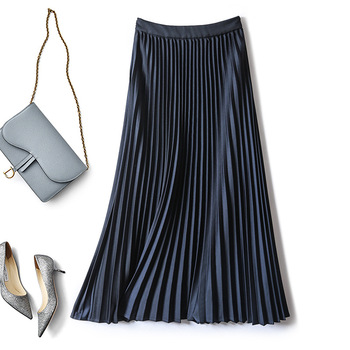 Long Maxi Pleated Skirt Women 2020 Summer Plus Size Elascity High Waist Casual Mesh lined Chiffon Paty Skirt Female high waisted metal embellished chiffon skirt