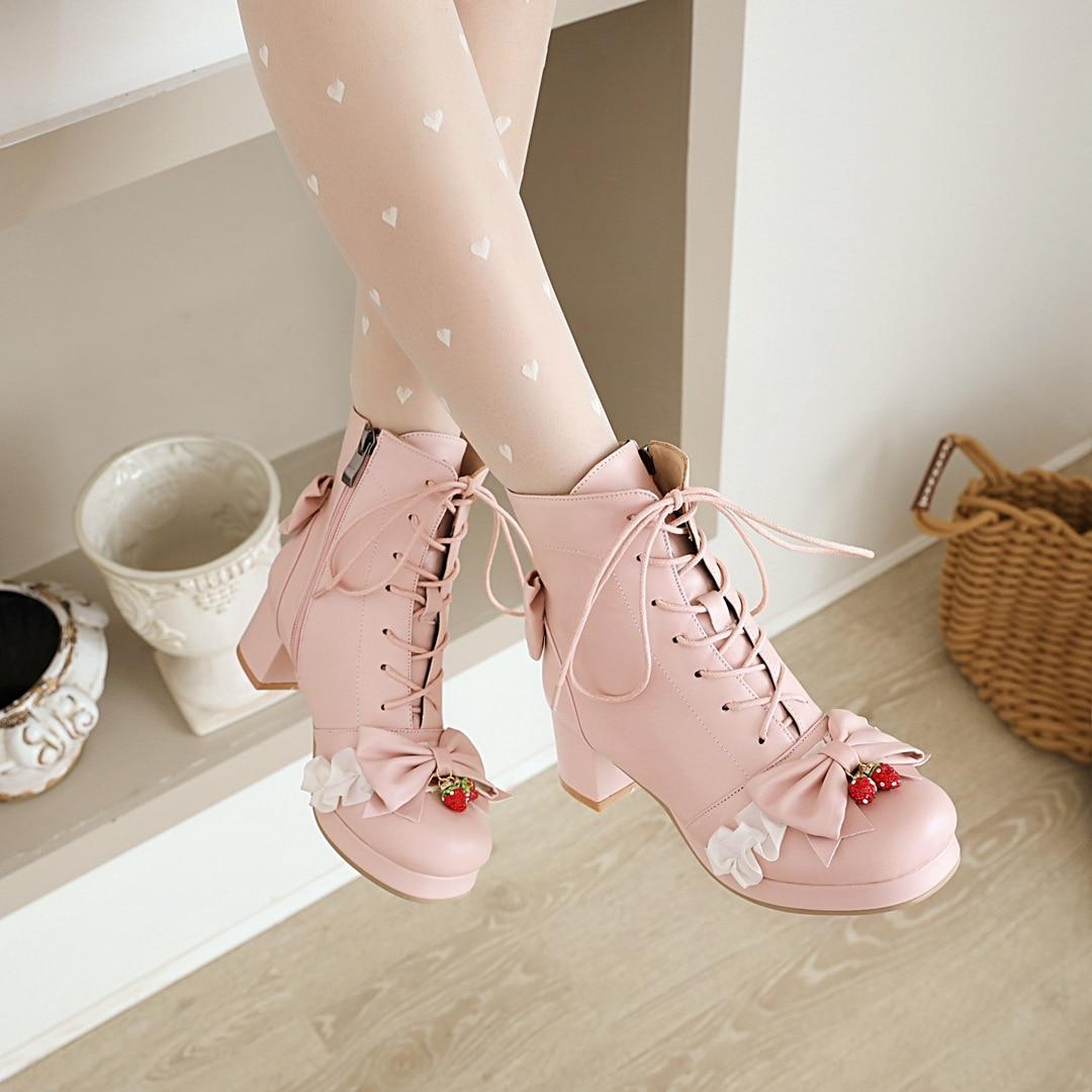 Autumn Winter Girls Lolita Ankle Boots Warm Inner Shoes Round Toe Platform Med Heel Women Snow Boots Femme JK Cosplay Party Wear
