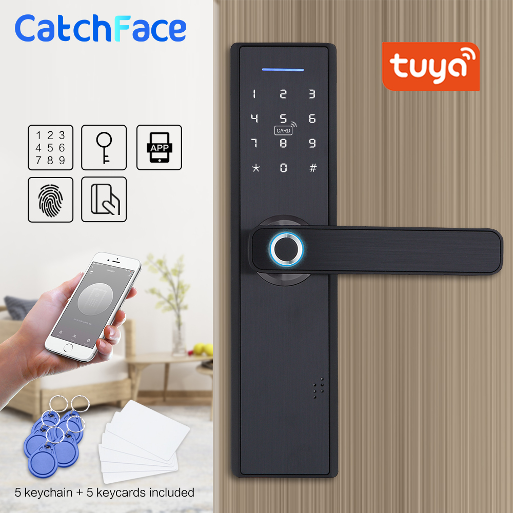 Tuya Smart APP Fingerprint Door Lock  Smart Card Digital Code Electronic Door Lock  Home Security Mortise Lock With 13.56 Cards