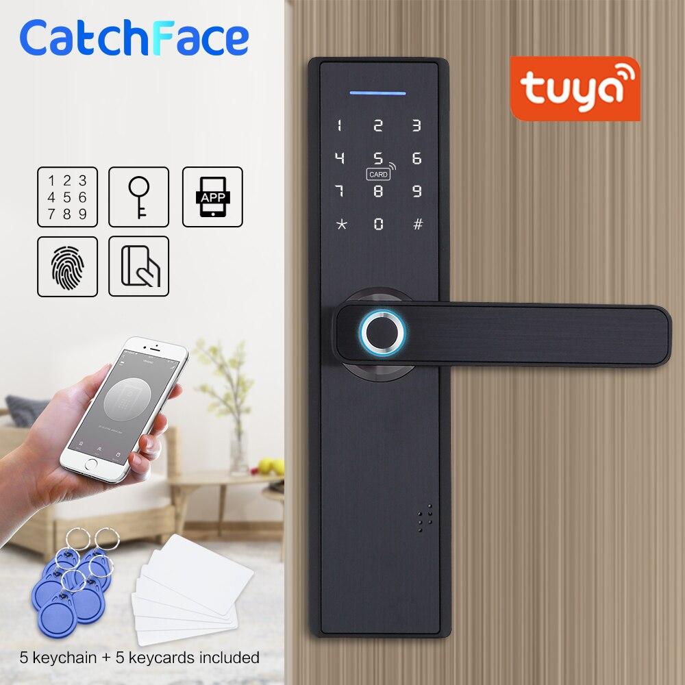 Tuya Smart APP Fingerprint Türschloss Smartcard Digitale Code Elektronische Türschloss Home Security Einsteckschloss Mit 13,56 Karten