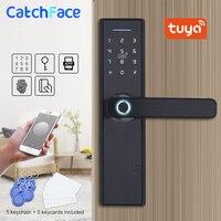 Tuya Smart APP Fingerprint Door Lock Smart Card Digital Code Electronic Door Lock Home Security Mortise Lock With 13.56 Cards