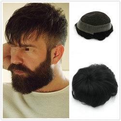 Hstonir Mens Toupee 100% Natural Straight Indian Remy Hair Men's Toupee System H036