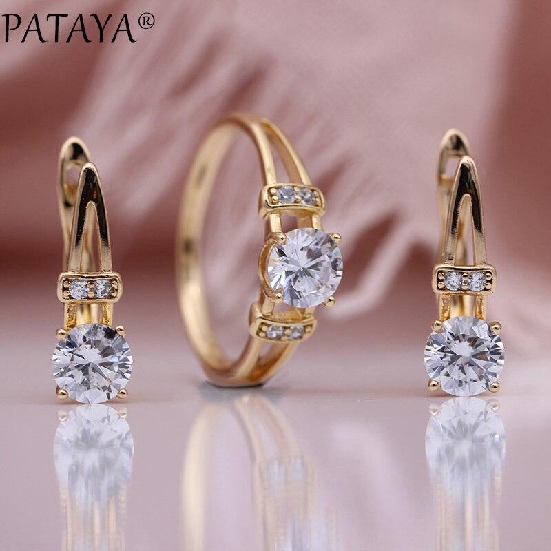 11,11 PATAYA, новинка, специальная цена, ювелирный набор, 585 розовое золото, женские модные ювелирные изделия, Круглые Белые серьги из натурального циркония, наборы колец|Ювелирные наборы|   | АлиЭкспресс