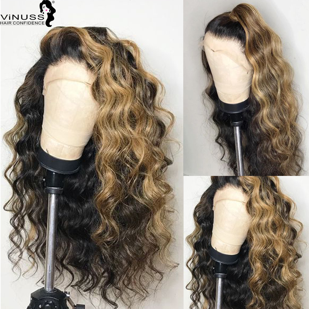 Ombre 1B/27# Honey Blonde Lace Front Human Hair Wigs Deep Parting Hairline Malaysian Remy Bleached Knots Pre Plucked Glueless