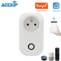 ACCKIP FR Typ Tuya Smart Wireless WIFI Remote 16A Frankreich Buchse Stecker Unterstützt Alexa und Google Hause preis intelligente wifi