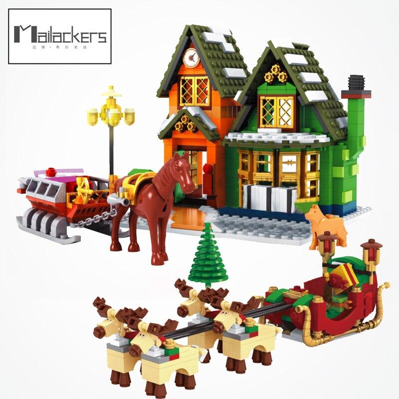 Замок Рождественский поезд деревня дерево дом Рождественская фигурка Санты модель строительные блоки игрушки для детей Подарки замок
