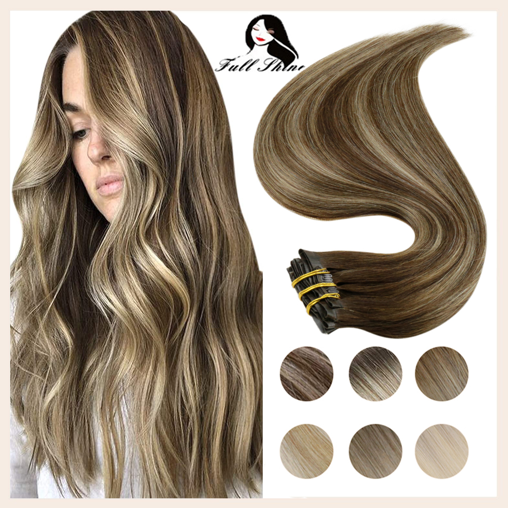 Full Shine Seamless Hair Clip Hair Extensions Remy Human Hair 120g PU Invisible Clip In Extensions Human Hair Balayage Color