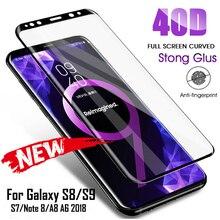 40D полностью изогнутое закаленное стекло для samsung Galaxy S8 S9 Plus Note 9 8 Защитная пленка для экрана для samsung A8 A6 S7 Edge