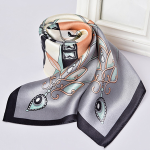 Image 3 - 100% Nature Square Silk Neckerchief Hangzhou Silk Kerchief Wraps for Ladies Printed Bandana Real Satin Silk Square Neck Scarf
