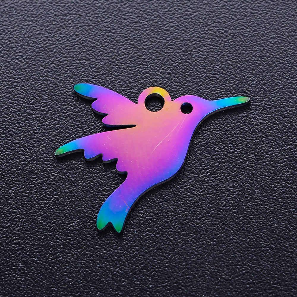 5 ピース/ロット虹犬猫ポウdiyチャーム卸売 100% ステンレス鋼ユニコーンペンダントクマハチドリ鳩の魅力
