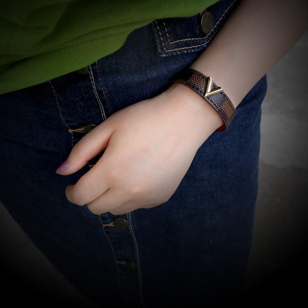 Charmsmic nuovi bracciali in pelle a righe per donna Mens ordito bracciali e braccialetti bottone in metallo dorato regali per gioielli da festa 2