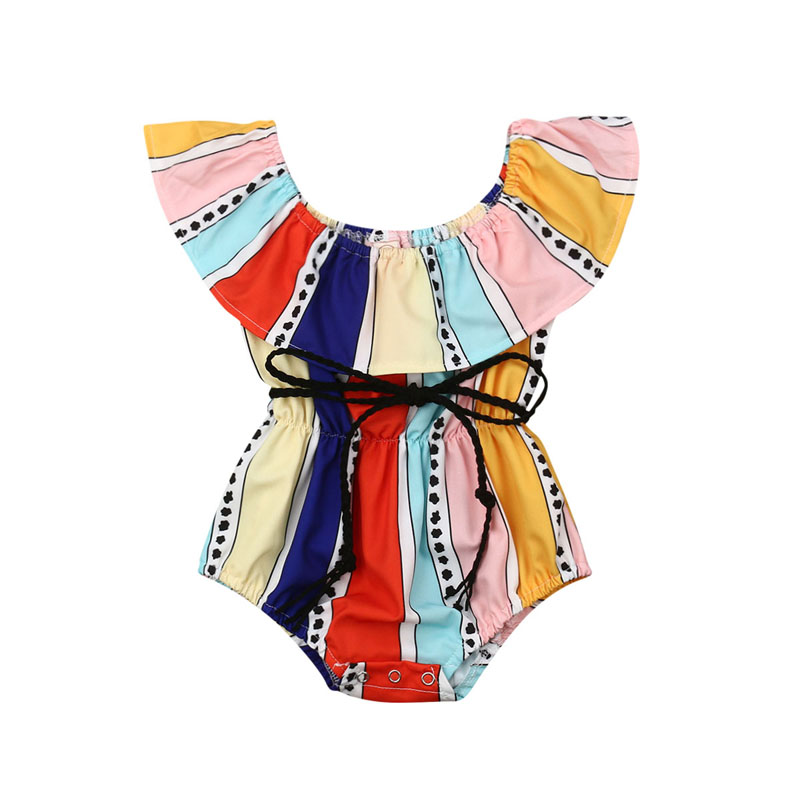 Pudcoco US Stock Fashion Newborn Kids Baby Girls Romper Striped Cotton Romper Off Shoulder Cute Jumpsuit Outfits Clothes