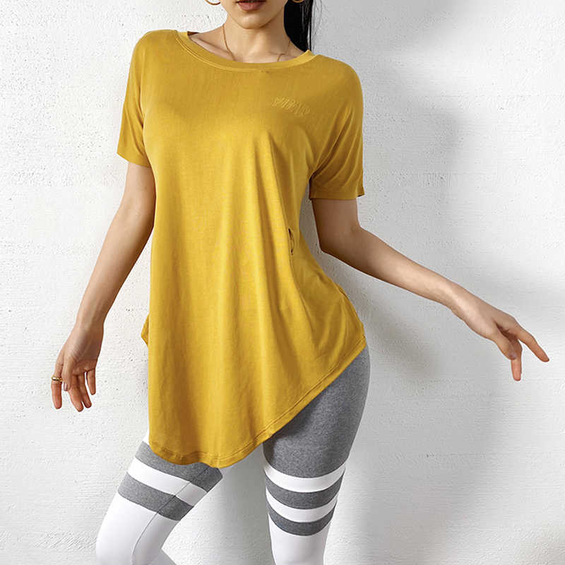 Vrouwen Modale Zachte Losse Ontwerp Yoga Tops Korte Mouw Snel Droog Sport T-shirts Gym Running Workout Tops Fitness Shirt Kleding