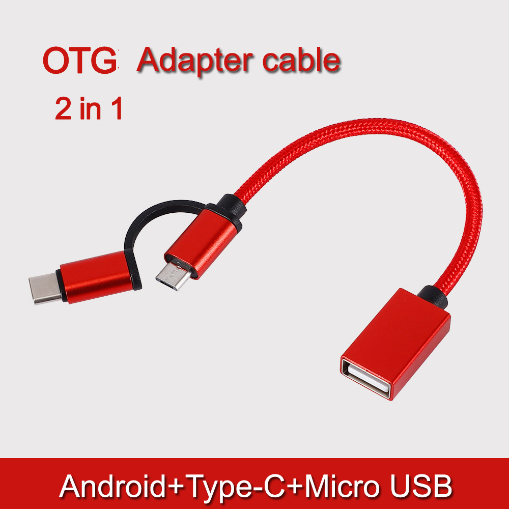 Android type-c one with two OTG adapter <font><b>cable</b></font> suitable for Android TYPE-C two in one <font><b>20</b></font> <font><b>cm</b></font> OTG adapter image