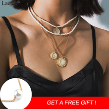 Lacteo Bohemian Multi Layer Virgin Mary Face Carved Coin Pendant Necklaces Women Statement Pearl Chain Choker Necklace Jewelry
