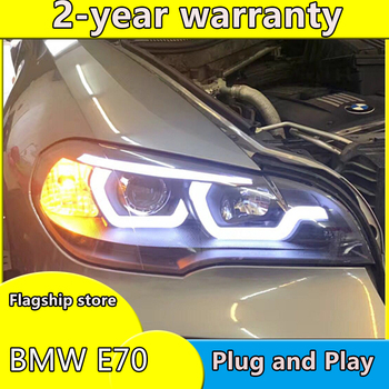 Car Styling Case For BMW X5 E70 LED Headlights 2007-2013 x5 HID Head Lamps Bi Xenon Beam Fog Daytime Running Lights Double lens