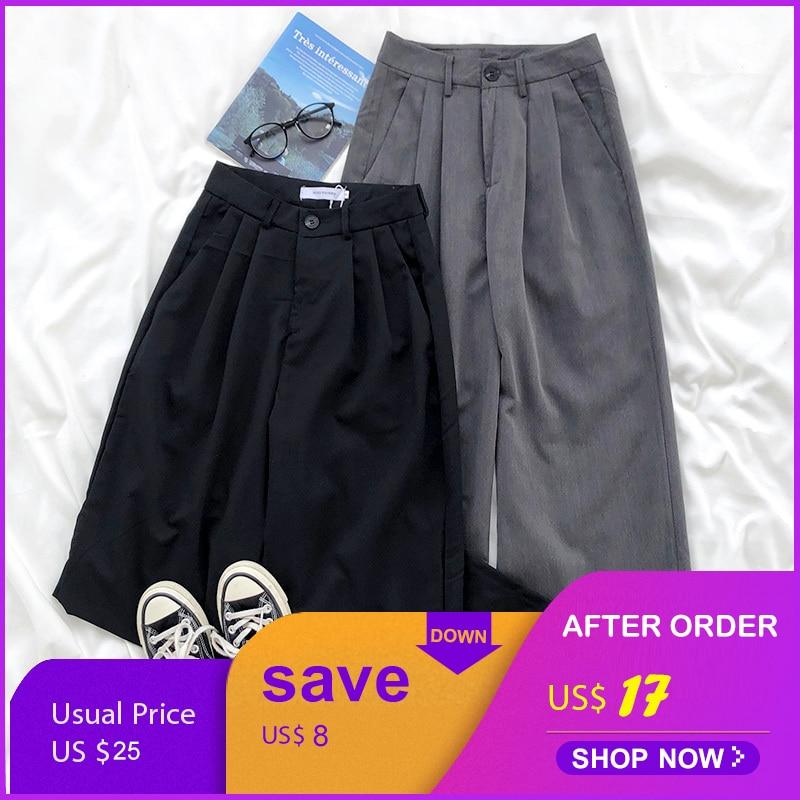 Mooirue Spring Women Wide Leg Pants High Waist Pleated Loose Ankle Suit Pants Bottom