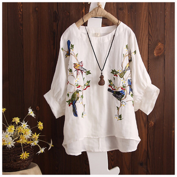 Blouse Plus size Women Tops Loose Embroidered Blouse Shirt Vintage Batwing sleeve Cotton Casual 2