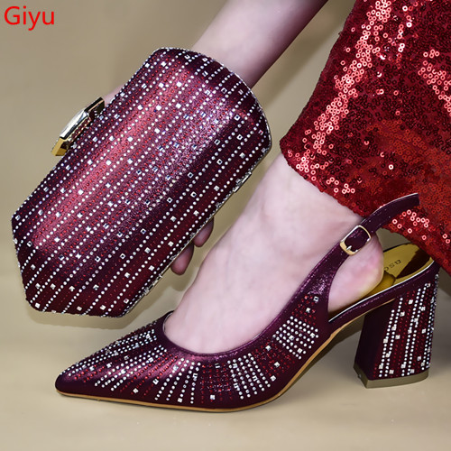 Doershow Beautiful HotShoes And Bag Matching Set With Wine Hot Selling Women Italian Shoes And Bag Set For Party Wedding!HTY1-23