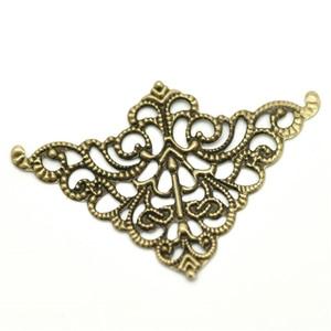 100 PCs Doreen Box Antique Bronze Filigree Triangle Wraps Connectors Alloy 5cm x 3.2cm For DIY Jewelry Making Findings Wholesale