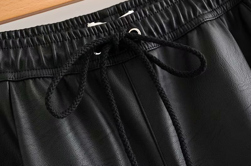 Vintage Stylish Pu Leather Pockets Pants Women 2020 Fashion Elastic Waist Drawstring Tie Ankle Trousers Pantalones Mujer 31