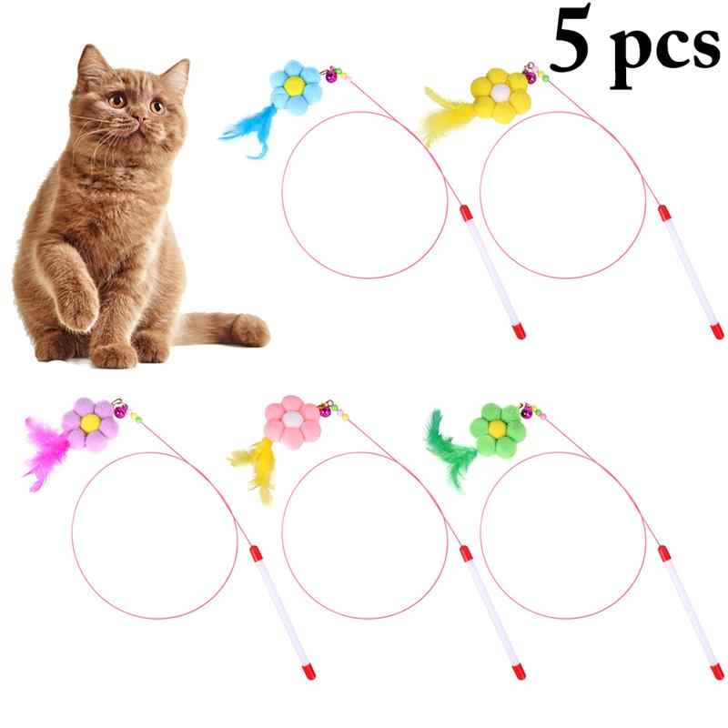 5PCS 고양이 티저 완드 가짜 깃털 Pompom 벨 고양이 티저 고양이 대화 형 장난감 다채로운 고양이 티저 장난감 용품 고양이 재미 있은 장난감